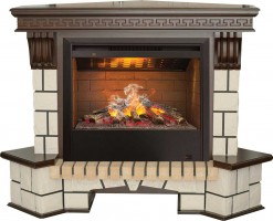 3D комплект Real Flame Stone New Corner с очагом 3D Helios